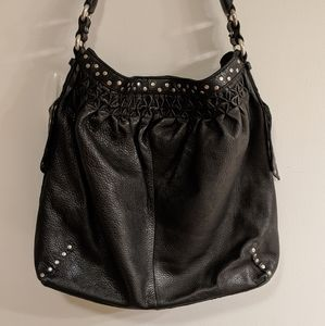 Lucky Brand Black Leather Studded Boho Bag